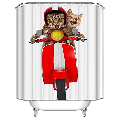 chengsan Personalisierte Badezimmer Decor Katze fährt Motorrad Muster Kunststoff Dusche Ringe enthalten Wasserdicht Polyester Stoff Vorhang für die Dusche, Two Cat, 71x71inch