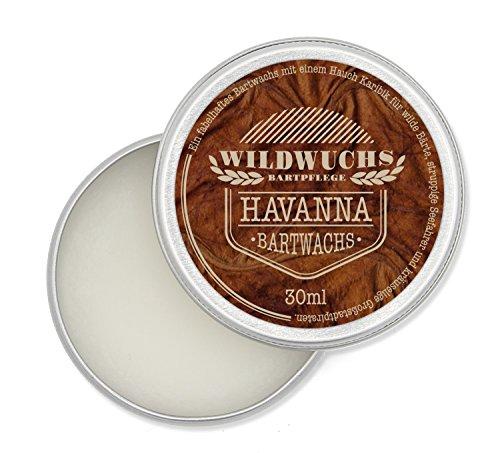 Wildwuchs Bartpflege - Bartwachs HAVANNA - Moustache Wax - Beard Balm für Bart-Styling - 30 ml