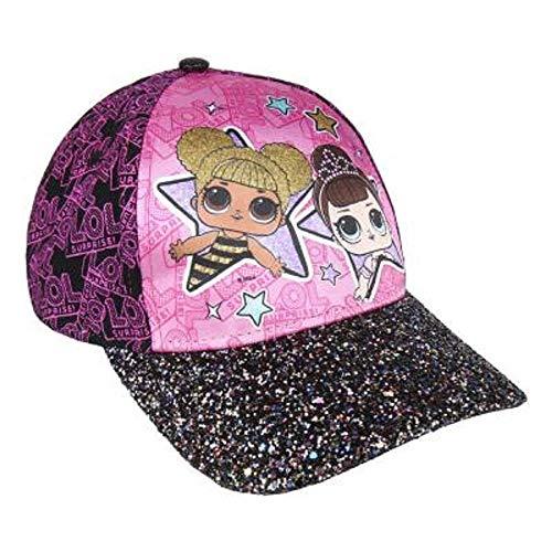 L.O.L. Surprise ! Mädchen Premium Baseball Baseballmütze | Kinder Sonnenhüte für den Sommer in Schwarz Rosa Blau Sparkly Glitter Einhorn Holographische Krempe (lila mit Glitzer)