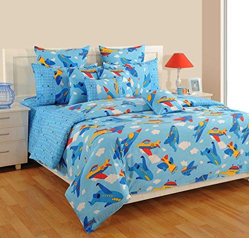 Baumwolle Queen-size Bettbezug (Yuga Dekor gedruckt Himmel blau wenig Baumwolle Kinder Engel dekorative Bett Bettbezug Queen-Size-Set 90 x 100 Zoll)
