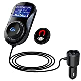 Bluetooth FM Transmitter Auto Wireless Radio Adapter, 1.44 inch LED Anzeige, Lesen TF-Karte/U-Disk, CVC Geräuschunterdrückung HiFi Freisprecheinrichtung Car Kit mit 2 USB Ladegerät für IOS Android