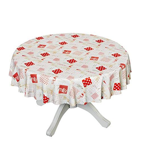 ANRO Toile cirée nappe nappe toile cirée lavable Cuisine kannen Taille au choix, Plastique, Bunt, Rund 140cm