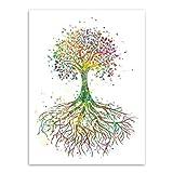 JY ART Leinwanddruck Abstrakter Aquarell Baum des Lebens Poster Print Leinwandbild Leinwand Plakat Deko XL053, 1, 50x70cm