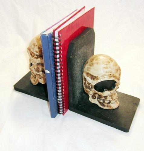 Buchstütze Totenkopf Design Gothic Horror Rockabilly Handgeschnitzt Neu