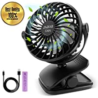 IEOKE Clip On Fan, Mini Desk Fan Portable Fan USB or Rechargeable Battery Operated Fans with 4 Speed (Black)