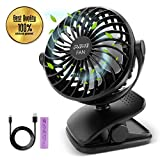 IEOKE Clip On Fan, Mini Desk Fan Portable Fan USB or Rechargeable Battery