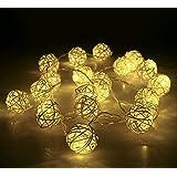 Weihnachtsbeleuchtung 20 Rattan Ball Lichterkette String Lights Batteriebetrieben für Hochzeit, Geburtstag Party, Weihnachtsdeko, 2,2 m, Warm Weiß