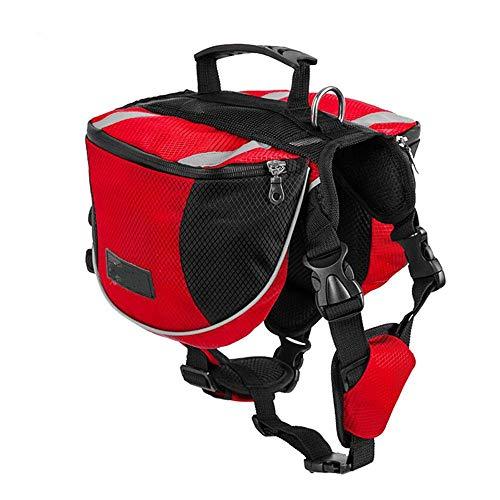 GIGIEroch-pet Hund Satteltasche wasserdichte Hundesatteltasche Verstellbare Hundegeschirr Rucksack-Rucksack-Premium-Hundezubehör for Wandern Camping Gehtraining (Farbe : Rot, Größe : S)