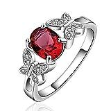 NYKKOLA New Arrival Sterling-Silber 925 mit Rubin Diamant-Ehering für Damen/Paare