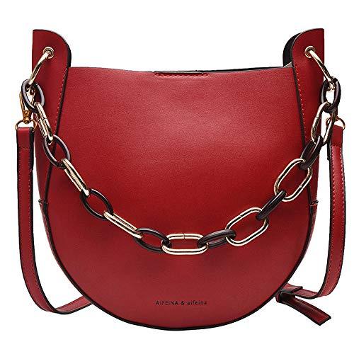 guoqushi Handtasche Diagonal Cross-Paket - Neue 2019 Retro-Damenhandtaschen Herbst Und Winter Modelle Damentasche Kette Mode Satteltasche High-End-Sinn Wilde Explosion Trend Schwarz @ Rot -