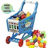 deAO Carrito de la Compra Infantil Incluye Variedad de 50 Productos de Mercado y Comestibles (