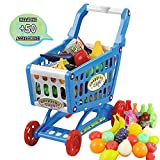 deAO Children Shopping Cart Trolley Play Set Includes 72 Grocery Food Fruit Vegetables Shop Accessories (Blue)