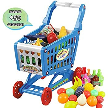 08e63f234f09 deAO Children Shopping Cart Trolley Play Set Includes 50 Grocery Food Fruit  Vegetables Shop Accessories (