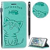 iPhone 6 Plus Hülle,iPhone 6S Plus Case Leder,WIWJ Prämie PU Klapphülle Leder Brieftasche[Impressum Cat Love Fish Handy Case]Schutzhülle für iPhone 6 Plus/iPhone 6S Plus-Grün