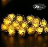 Morbuy Lichterketten, 20LED/30LED/40LED/50LED Rosen Blumen feenhafte String Lights für Hochzeit Festival Garden Party Weihnachtsdekoration Zubehör (Warmes Weiß)