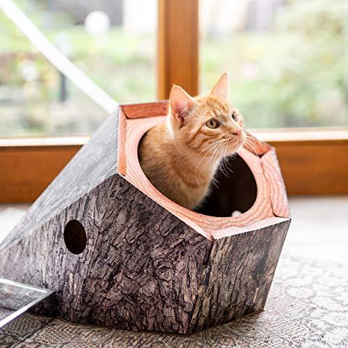 CanadianCat Company ® | Kratzbrett - Treehouse | Katzenhöhle aus Pappe mit großem Eingang | Baumhöhle für Katzen mit Kratzpappe