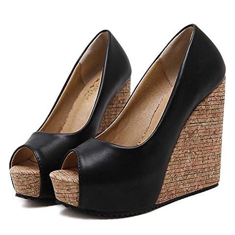 Pump 12.5cm Wedge Heel 4cm Platform Peep Toe High Heels Dress Shoes Casual Shoes Women Charming Sandals Court Shoes Eu Size 34-39 ( Color : Black , Size : 38