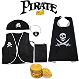 Fancy Steps Jacket, Headgear, Eye Patch, 5 Pirate Coins & Cape Pirate Costume Set - 4 Years