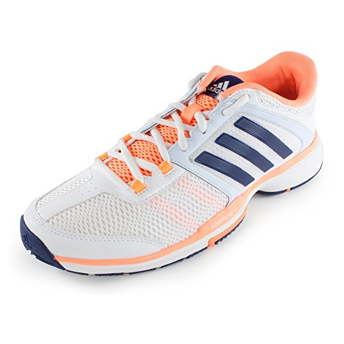 Adidas Barricade Team 4 Damen Tennis Schuhe Weiß Orange/Royal, White/Night Sky/Flash Orange