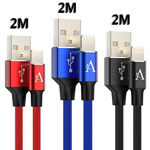 Airylve [3-Pack] iPhone Kabel, iPhone Aufladekabel 2M Nylon Geflochtene iPhone Ladekabel für iPhone 8/8 Plus / 7/7 Plus / 6s / 6s Plus / 6/6 Plus/SE / 5s / 5c / 5 (Blau+Rot +Schwarz)