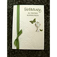 Einladung Einladungskarte Kommunion Konfirmation Schmetterling Kelch oliv olivgrün grün lindgrün
