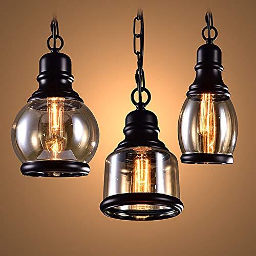 Seil Classica Industrielles Edison-Lampe, Wandleuchte, Schreibtisch aus Metall, antik, Deckenstrahler, Retro-Anhänger, Vintagelampe, Loft rot, weiß, Glas 2 - Rost-finish Deckenventilator
