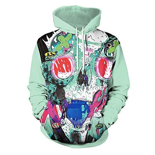 OYSOHE Liebhaber Pullover, Damen & Herren 3D Print Party Langarm Punk Bluse Hoodie Sweatshirt(Grün,XXL)