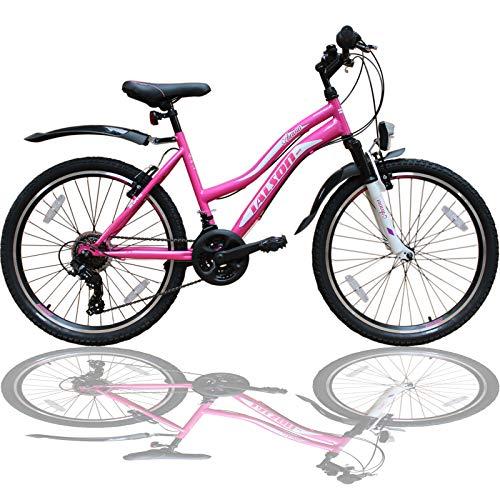 Talson 24 Zoll Mädchen Fahrrad MTB mit Beleuchtung und Shimano 21-Gang Kinderfahrrad Rosa