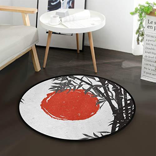AMONKA Bambus-Silhouette mit roter Sonne für Kinder, rund, Krabbeldecke, rutschfest, für Kinder, Spielzimmer, Heimdekoration (Durchmesser 91,4 cm) -