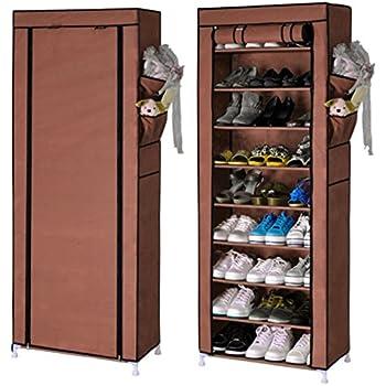 This Item Karp Shoe Rack,Portable 10 Layer 9 Grid 30 Pair Shoe Rack With  Cover Space Saving Shoe Storage Organizer Shoe Shelf / Shoe Cabinet ,Coffee  Color Part 61