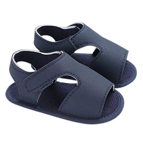 Lebeaut Baby Boy Schuhe rutschfeste Gummisohle PU Leder Sommer Sandale Lauflernschuhe für Baby Infant Kleinkind Blau 12 cm (Infant Schuhe Baby Boy)