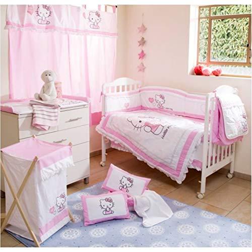 4 Pcs Hello Kitty Heart Crib Bedding Girl Set Baby Bedding Collection Set (Nestchen+Decke+Spannbetttuch+Crib Skirt) Embroidery Decke & Bumper (Kitty Bettwäsche Hello Baby)