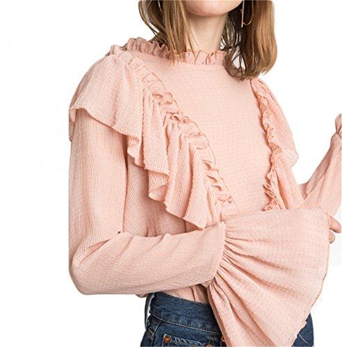 Hohem Ausschnitt Rüschensaum Langarm Weiten Ärmeln Glockenärmel Rosa Bluse Hemd Shirt Oberteil Top Rosa
