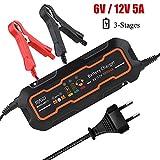 6V/12V 5A Automatisches Autobatterie Ladegerät Vollautomatischer Batteriewächter für Autos und Motorräder(EU-Stecker)