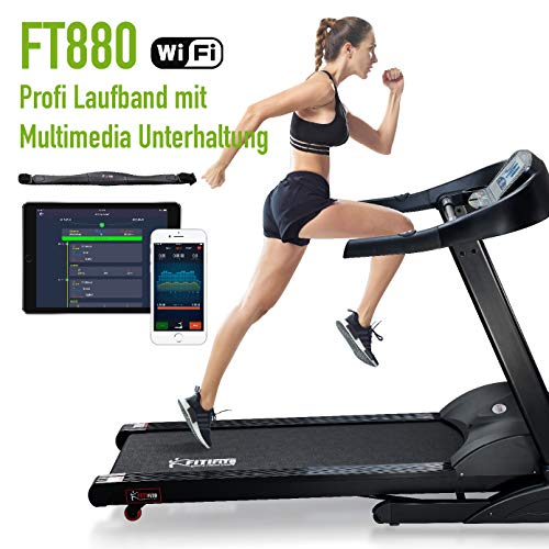 Fitifito FT880 Profi Laufband 7,5PS 22km/h mit 10,1 Zoll Touchscreen Android WiFi App 22 Trainingsmodulen inkl. HRC -