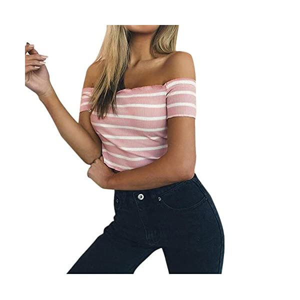 FAMILIZO Camisetas Mujer Manga Corta Camisetas Mujer Verano Blusa Mujer Sport Tops Mujer Verano Camisetas Sin Hombros…