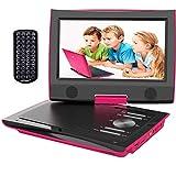 ieGeek Reproductor DVD Portátil Coche Niños con Pantalla HD 9.5' TFT LCD, Multi Region Gratis, Batería Recargable 5H, Jack de Auriculares Dual, Puerto AV / SD / USB (Rosa Oscuro)