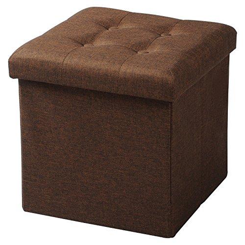 WOLTU® Sitzhocker mit Stauraum Sitzwürfel Sitzbank faltbar Truhen Aufbewahrungsbox, Deckel abnehmbar, Gepolsterte Sitzfläche aus Leinen, 37,5x37,5x38CM(LxBxH), Braun, SH06br-1
