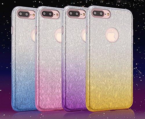 Cover iPhone 5S,Cover iPhone SE,Custodia iPhone SE / iPhone 5S 5 Cover,ikasus® Layer 3 Crystal Clear Hard PC & Soft TPU & Glitter Stickers con Sfumatura di colore Caso Custodia custody sleeve Case Cov porpora