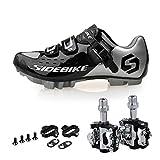 TXJ Mountain MTB Fahrradschuhe Radsportschuhe mit Pedale EU Größe 46 Ft 29cm (SD-001 Silber / Schwarz)(pedale schwarz)