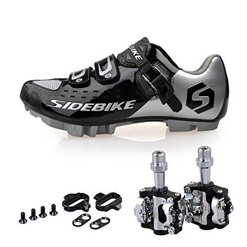 TXJ Mountain MTB Fahrradschuhe Radsportschuhe mit Pedale EU Größe 42 Ft 26.5cm (SD-001 Silber/Schwarz)(pedale schwarz)