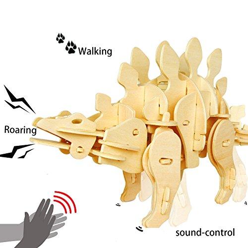 ROBOTIME 3D Puzzle roboterartiger Dinosaurier Holz Spielzeug für Jungen 6, 7, 8, 9 Jahre und Älter - Tonsteuerung Holzbausatz Steckpuzzle