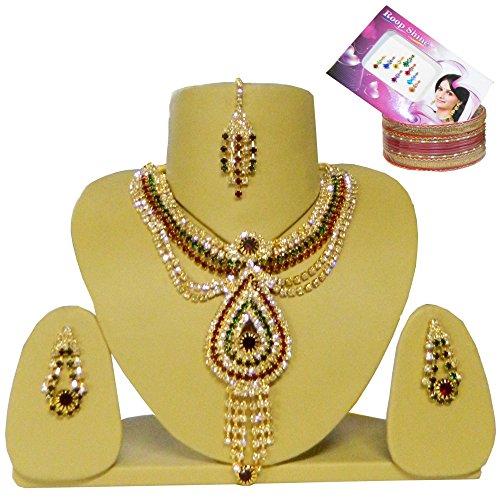 Bollywood Set Aishwarya mit Bindis und Bangles indisches Schmuck Set (Kostüm Schmuck Indien Sets)