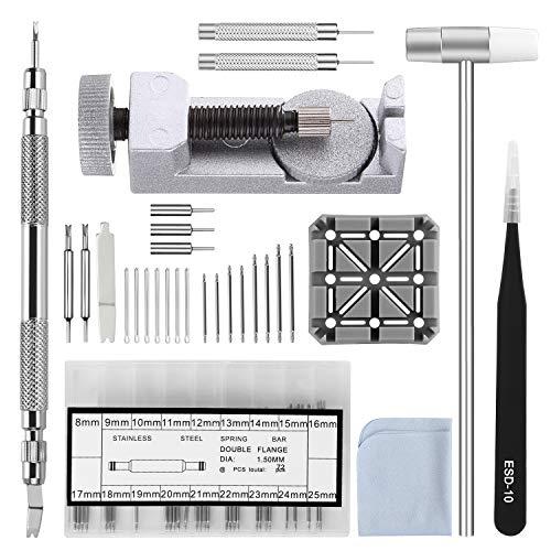 Uhrenarmband Tool Kit, 104in 1Link Entferner, Spring Bar Werkzeug mit extra 72Stück Pins, 16Splint, 1Halter, 1Kopf Hammer, 1Pinzette, 1Stück Gläser Tuch -