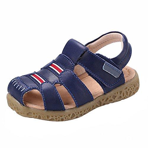 GAXmi Sandalen Leder Jungen Geschlossene Zehe Sommer Schuhe für Mädchen Kinder Kleinkind (26, Blau)