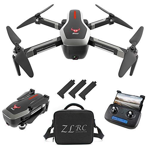 Goolsky Drohne SG906 GPS Brushless 4K mit Kamera 5G WiFi FPV Faltbarer optischer Fluss Positionierungshöhe Halten RC Quadrocopter mit 3 Batterien,Schwarz,Handtasche Gps Iii Pilot