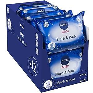 NIVEA Baby Fresh & Pure Feuchttücher in wiederverschließbarem Soft-Pack, 12er Pack (12 x 63 Stück)