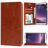 #7: DMG Premium Leather Wallet Flip Cover Stand Case for Vivo V7 Plus (Latchless ID Brown)