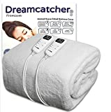 Dreamcatcher Luxury King Size Electric Blanket Polar Fleece, King Size Bed 203 x 152cm Electric Heated Blanket, Fully Fitted Underblanket Mattress Cover 8 Comfort Modes, 2 Controllers Machine Washable