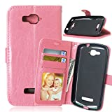 Qiaogle Telefono Case - Custodia in Pelle PU Basamento Custodia Protettiva Cover per Alcatel One Touch Pop C7 (5 Pollici) - DK08 / Pink Stile di Affari di Modo